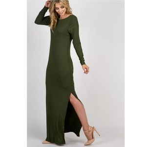 Olive Ribbed Maxi Dress